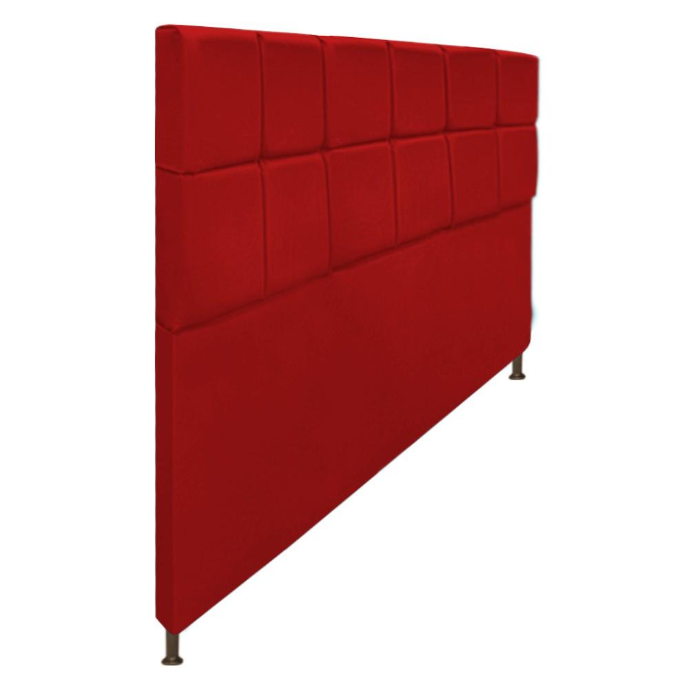 Cabeceira Estofada Damares 195 cm King Size Com Botonê Suede Vermelho - ADJ Decor