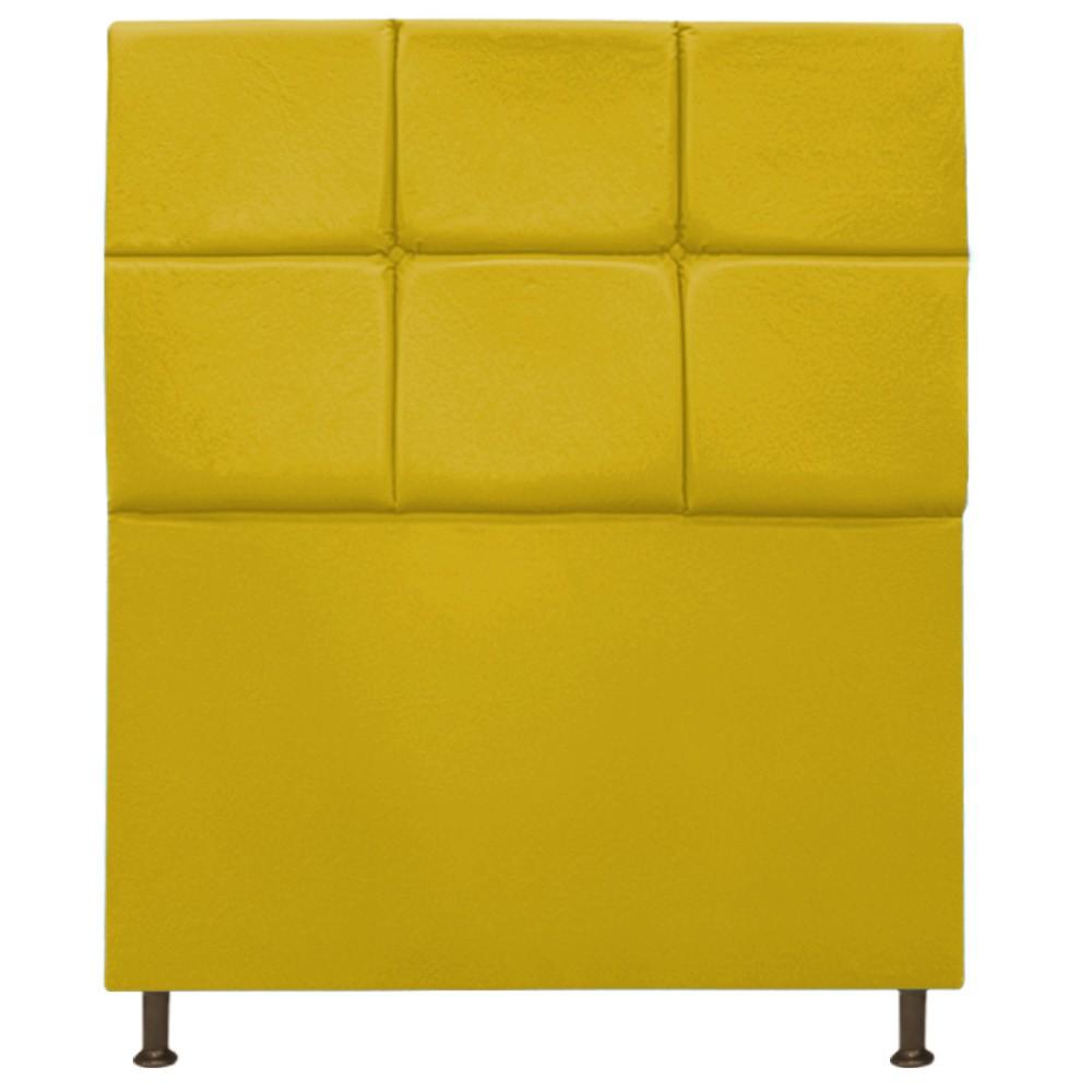 Cabeceira Estofada Damares 90 cm Solteiro Com Botonê  Suede Amarelo - ADJ Decor
