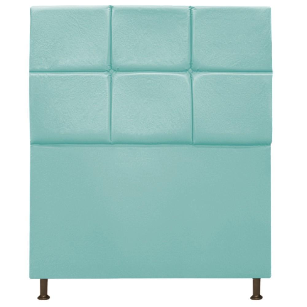 Cabeceira Estofada Damares 90 cm Solteiro Com Botonê  Suede Azul Tiffany - ADJ Decor