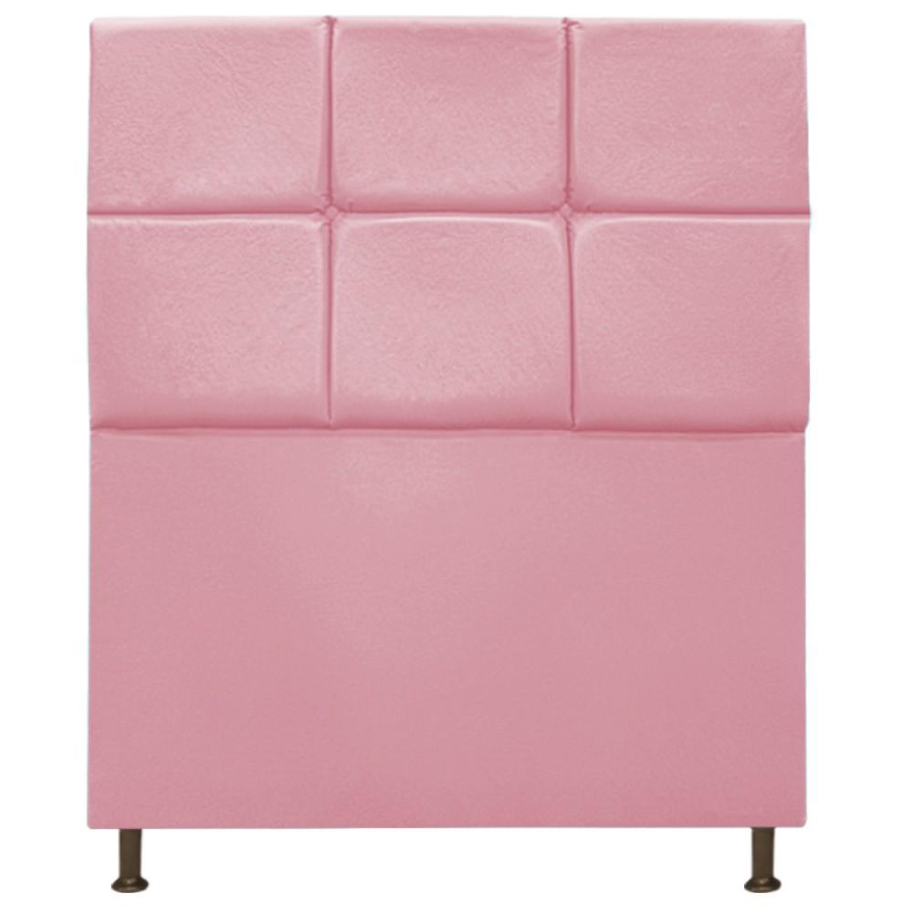 Cabeceira Estofada Damares 90 cm Solteiro Com Botonê  Suede Rosa Bebê - ADJ Decor