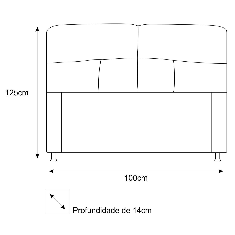 Cabeceira Estofada Donna 100 cm Solteiro Suede Preto - ADJ Decor