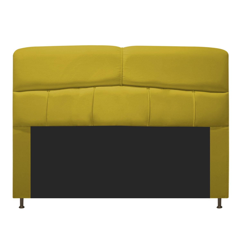 Cabeceira Estofada Donna 140 cm Casal  Suede Amarelo - ADJ Decor