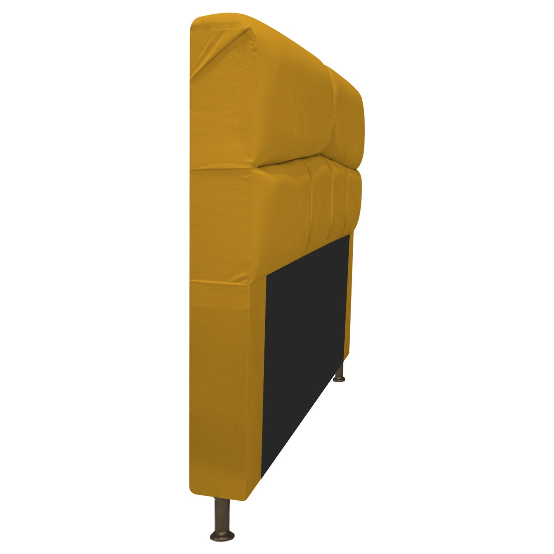 Cabeceira Estofada Donna 140 cm Casal  Suede Mostarda - ADJ Decor