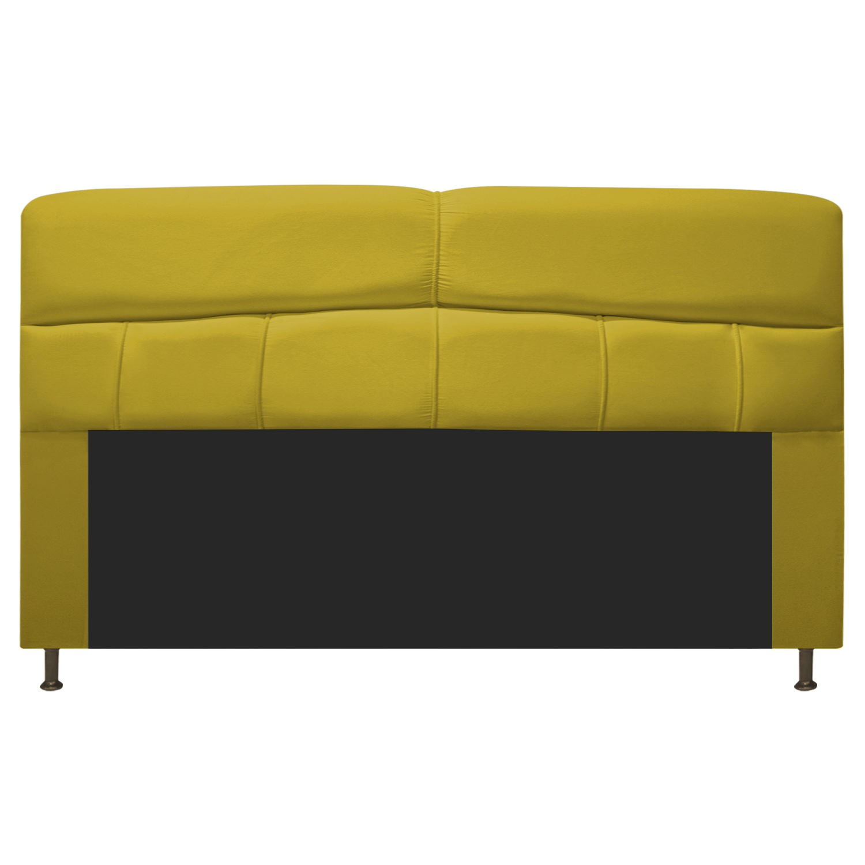 Cabeceira Estofada Donna 195 cm King Size Suede Amarelo - ADJ Decor