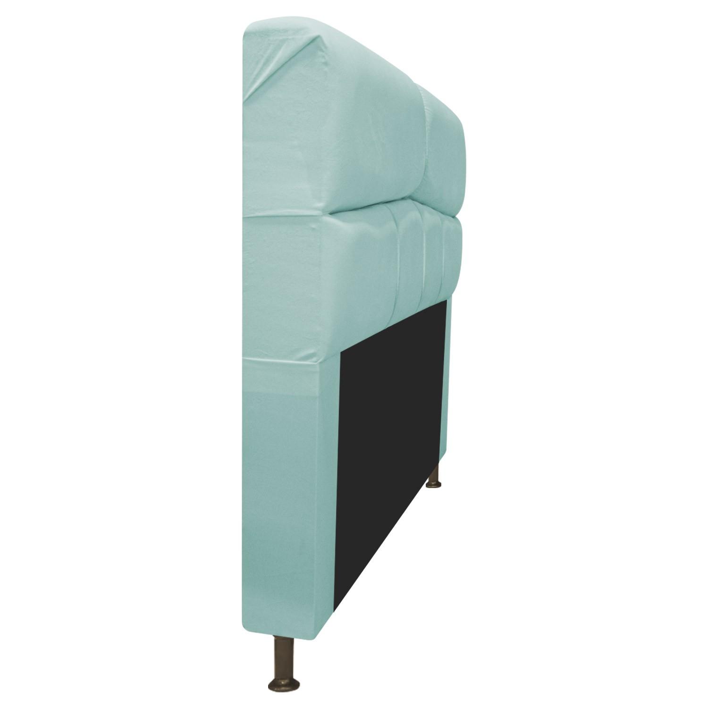 Cabeceira Estofada Donna 195 cm King Size Suede Azul Tiffany - ADJ Decor
