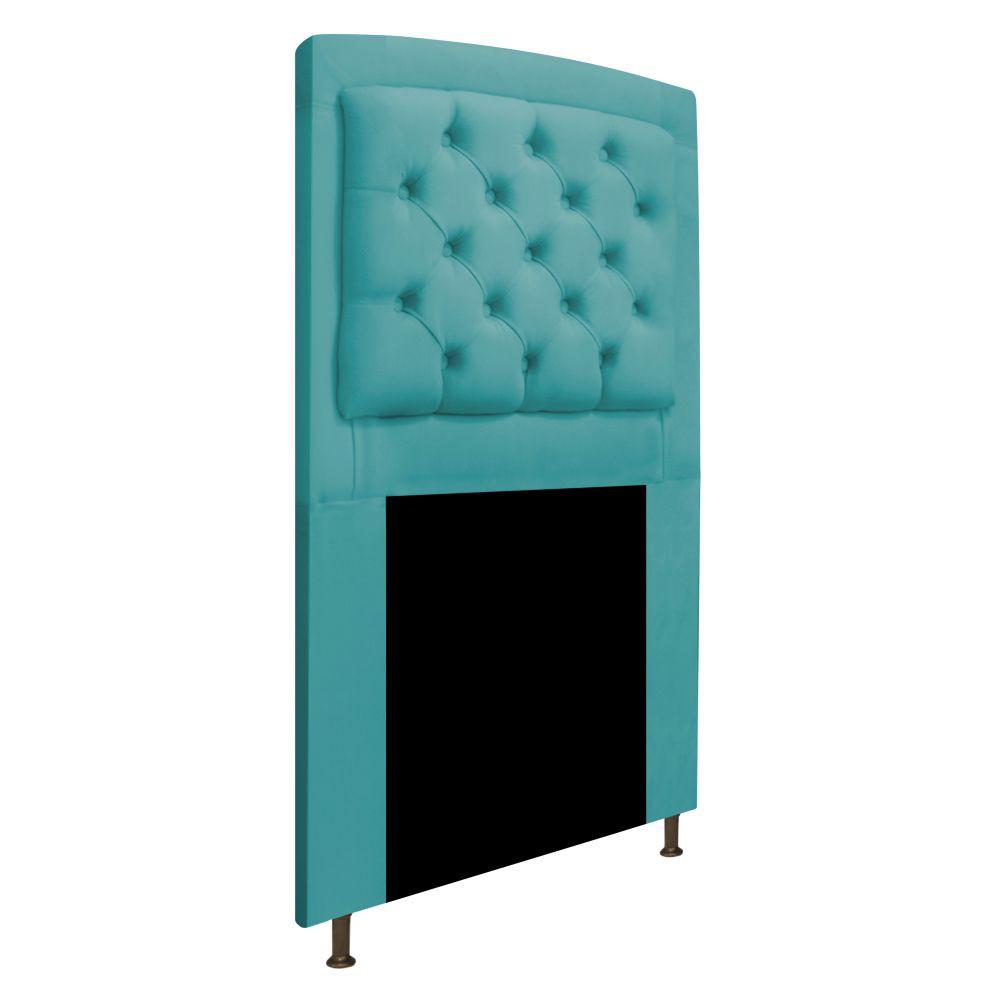 Cabeceira Estofada Geovana 100 cm Solteiro Com Capitonê Suede Azul Turquesa - ADJ Decor