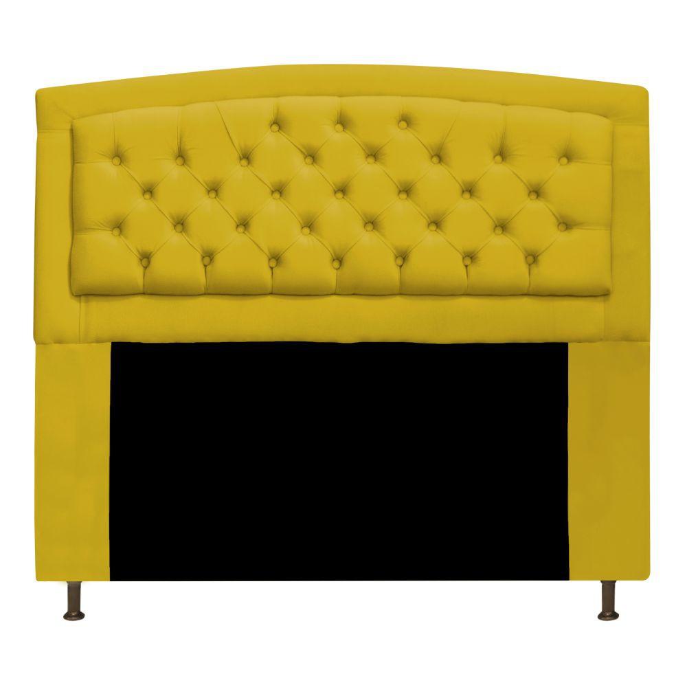 Cabeceira Estofada Geovana 140 cm Casal Com Capitonê  Suede Amarelo - ADJ Decor