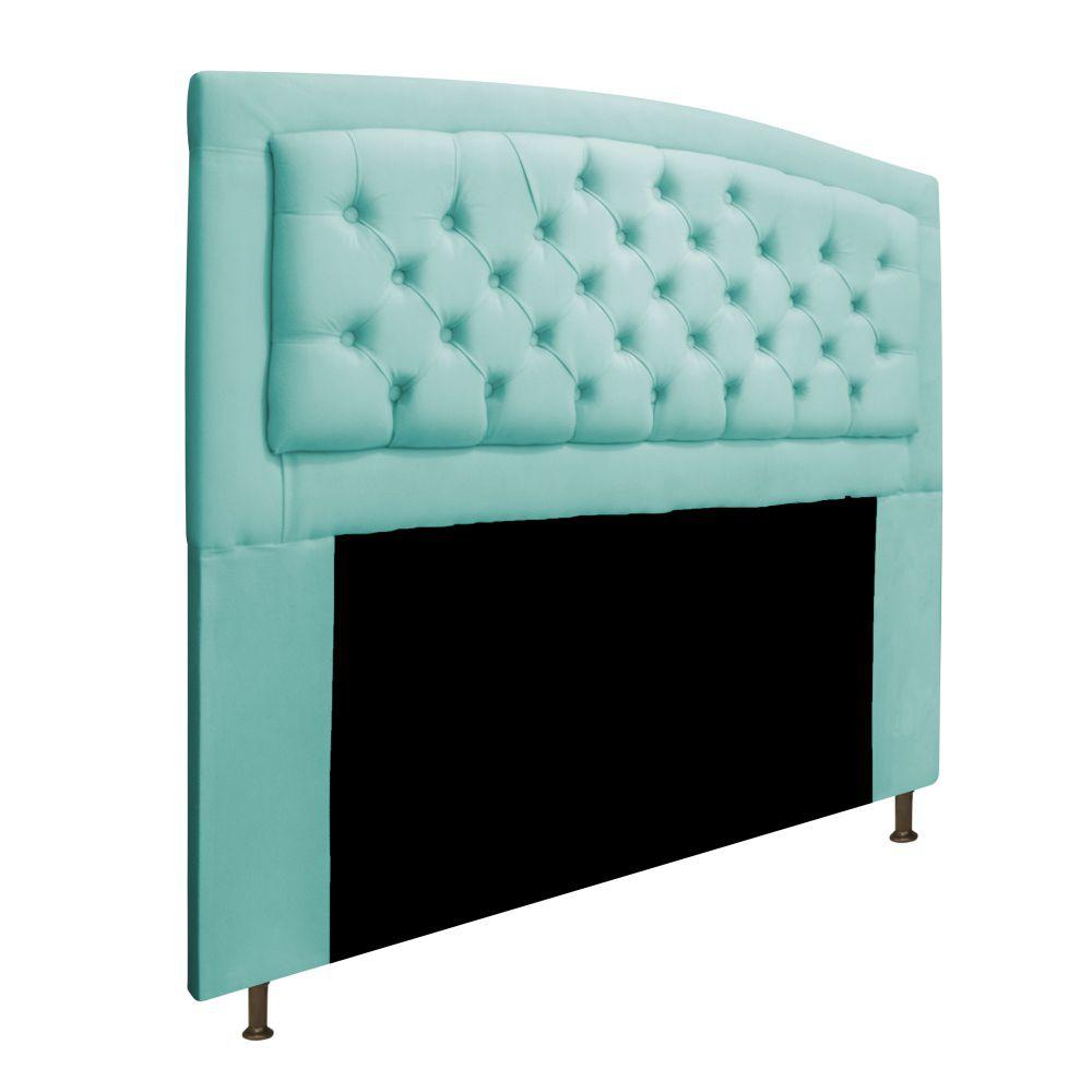 Cabeceira Estofada Geovana 140 cm Casal Com Capitonê  Suede Azul Tiffany - ADJ Decor