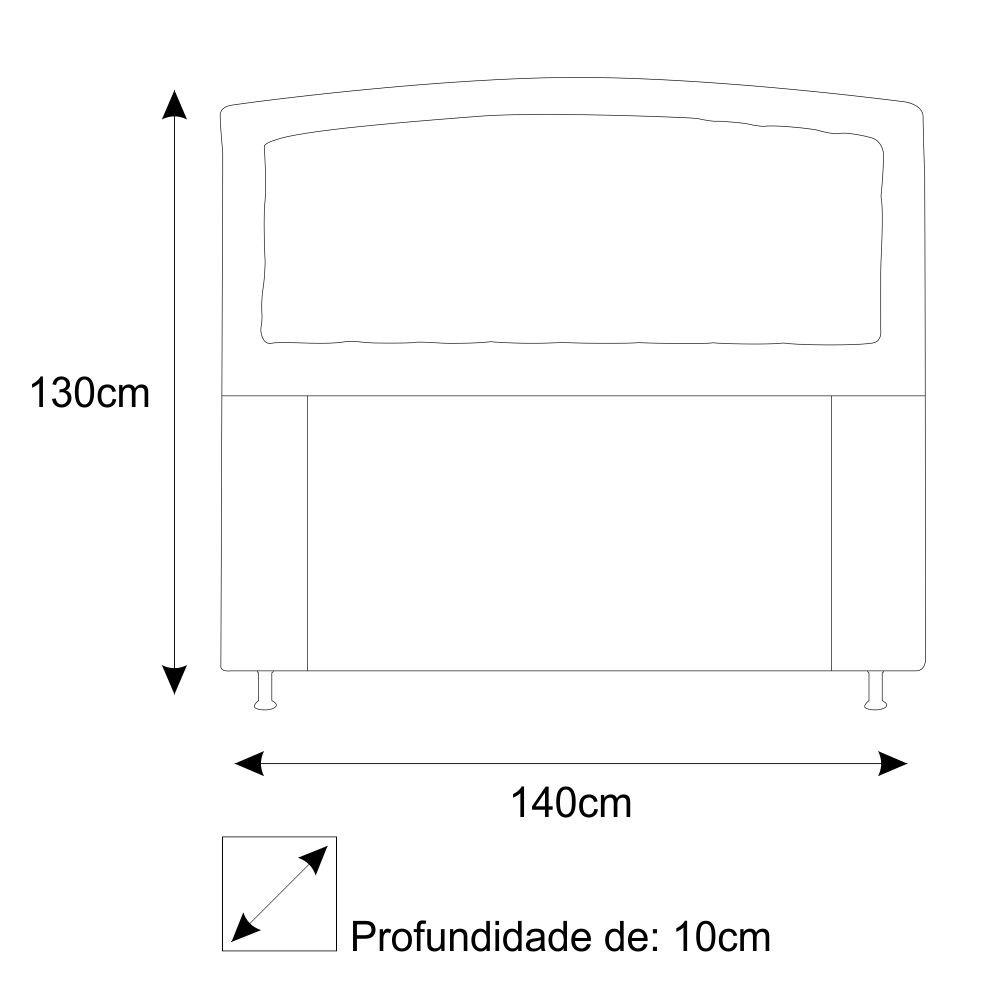 Cabeceira Estofada Geovana 140 cm Casal Com Capitonê  Suede Branco - ADJ Decor