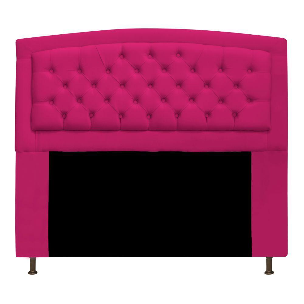 Cabeceira Estofada Geovana 140 cm Casal Com Capitonê  Suede Pink - ADJ Decor