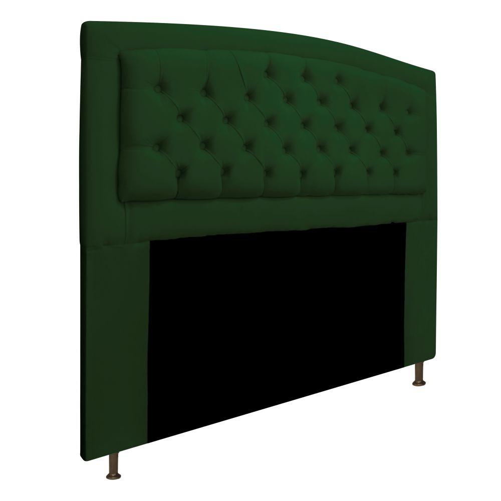 Cabeceira Estofada Geovana 140 cm Casal Com Capitonê  Suede Verde - ADJ Decor