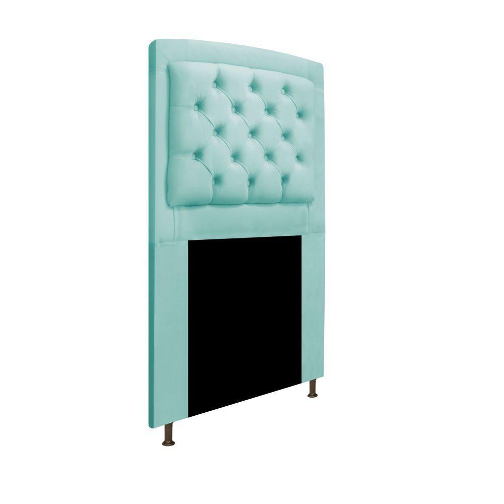 Cabeceira Estofada Geovana 90 cm Solteiro Com Capitonê  Suede Azul Tiffany - ADJ Decor