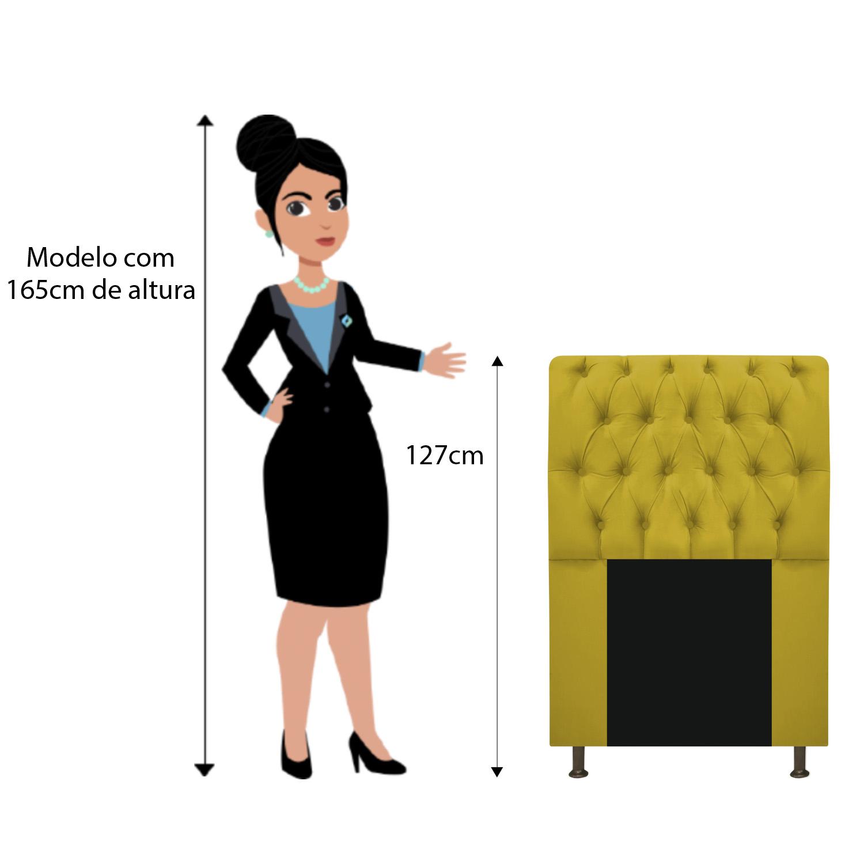 Cabeceira Estofada Lady 100 cm Solteiro Com Capitonê Suede Amarelo - ADJ Decor