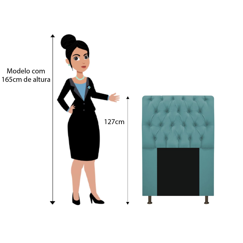 Cabeceira Estofada Lady 100 cm Solteiro Com Capitonê Suede Azul Turquesa - ADJ Decor