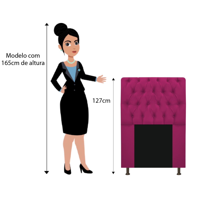 Cabeceira Estofada Lady 100 cm Solteiro Com Capitonê Suede Pink - ADJ Decor