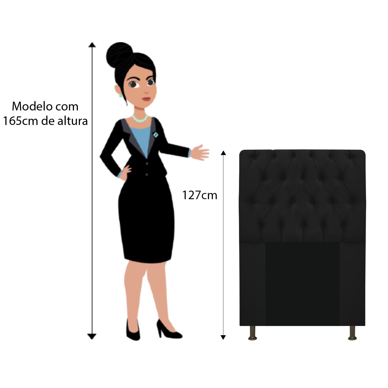 Cabeceira Estofada Lady 100 cm Solteiro Com Capitonê Suede Preto - ADJ Decor