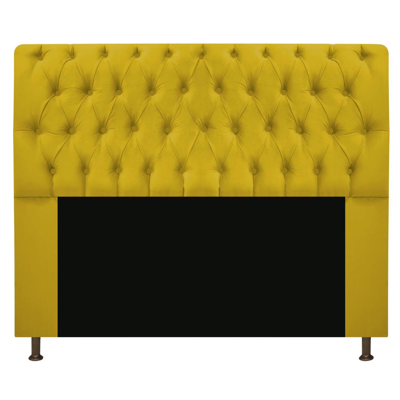 Cabeceira Estofada Lady 140 cm Casal Com Capitonê  Suede Amarelo - ADJ Decor