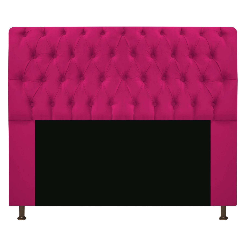 Cabeceira Estofada Lady 140 cm Casal Com Capitonê  Suede Pink - ADJ Decor