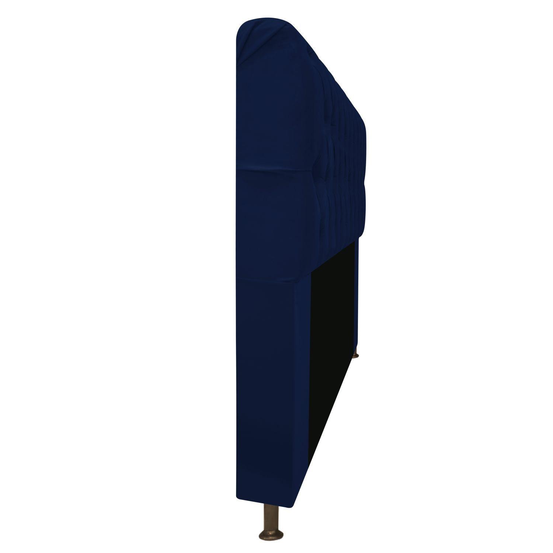 Cabeceira Estofada Lady 195 cm King Size Com Capitonê Suede Azul Marinho - ADJ Decor