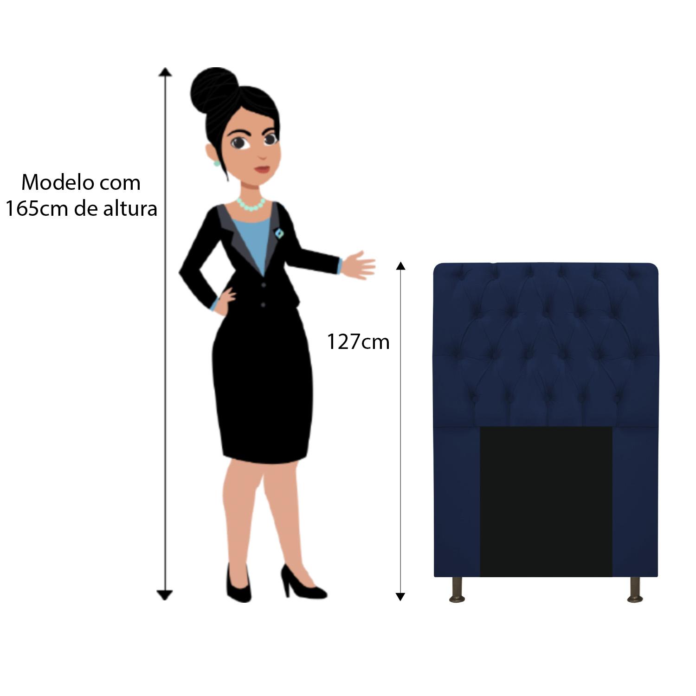Cabeceira Estofada Lady 90 cm Solteiro Com Capitonê  Suede Azul Marinho - ADJ Decor