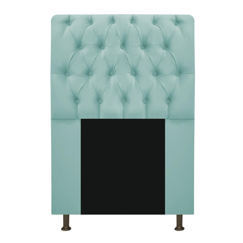 Cabeceira Estofada Lady 90 cm Solteiro Com Capitonê  Suede Azul Tiffany - ADJ Decor