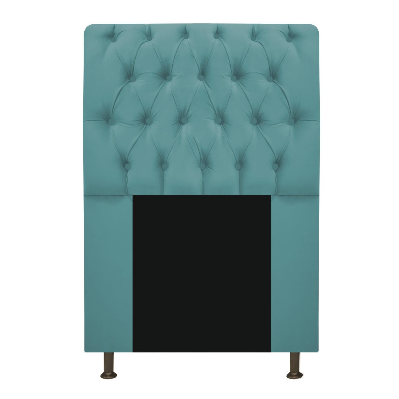 Cabeceira Estofada Lady 90 cm Solteiro Com Capitonê  Suede Azul Turquesa - ADJ Decor