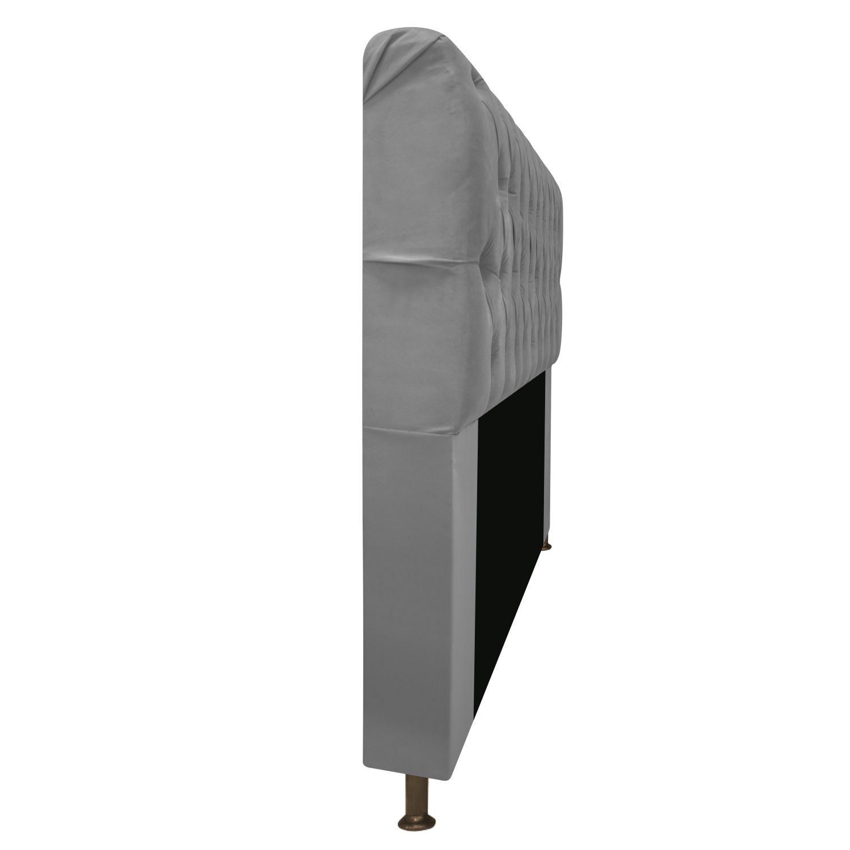 Cabeceira Estofada Lady 90 cm Solteiro Com Capitonê  Suede Cinza - ADJ Decor