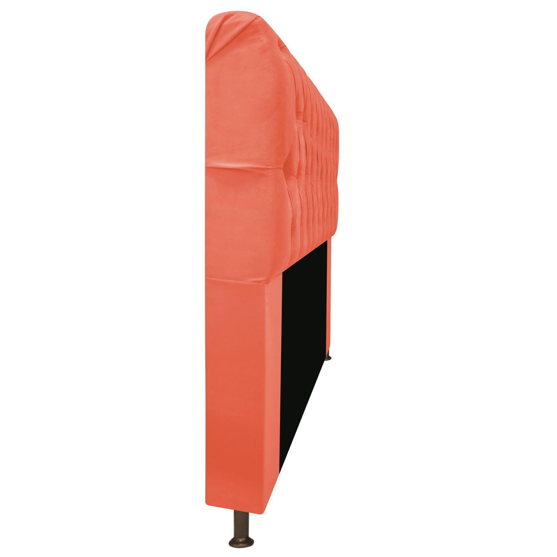 Cabeceira Estofada Lady 90 cm Solteiro Com Capitonê  Suede Coral - ADJ Decor