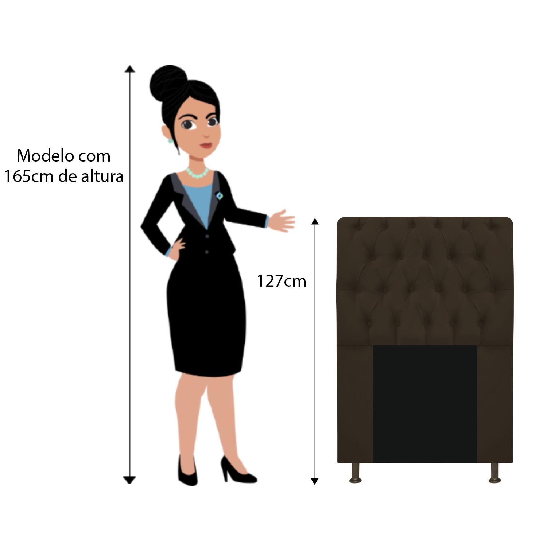 Cabeceira Estofada Lady 90 cm Solteiro Com Capitonê  Suede Marrom - ADJ Decor