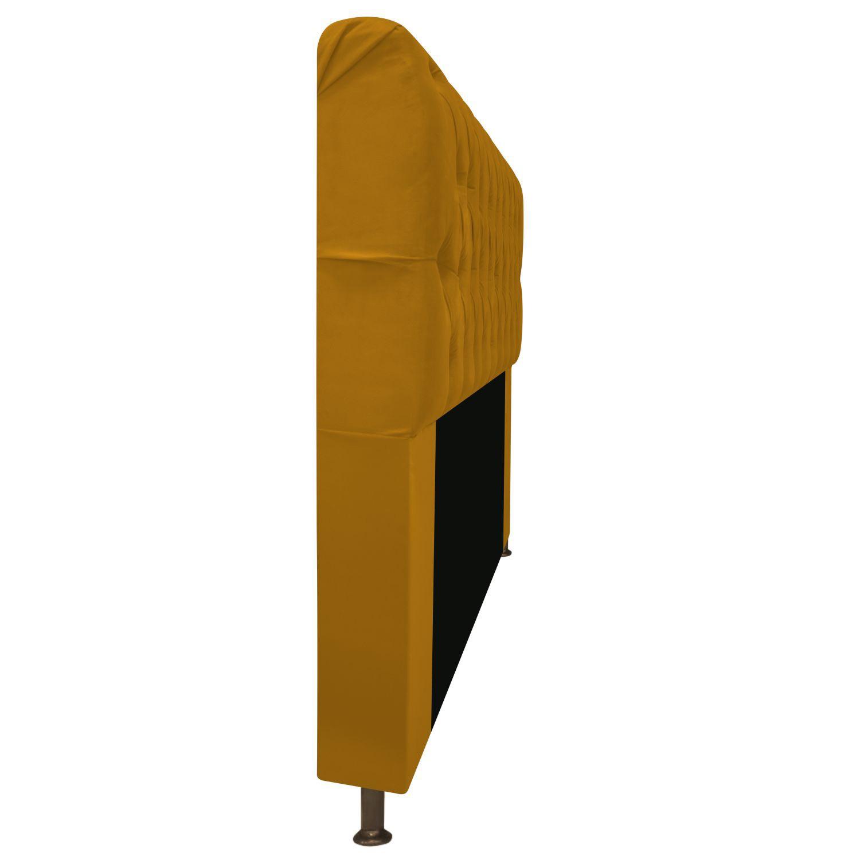 Cabeceira Estofada Lady 90 cm Solteiro Com Capitonê  Suede Mostarda - ADJ Decor