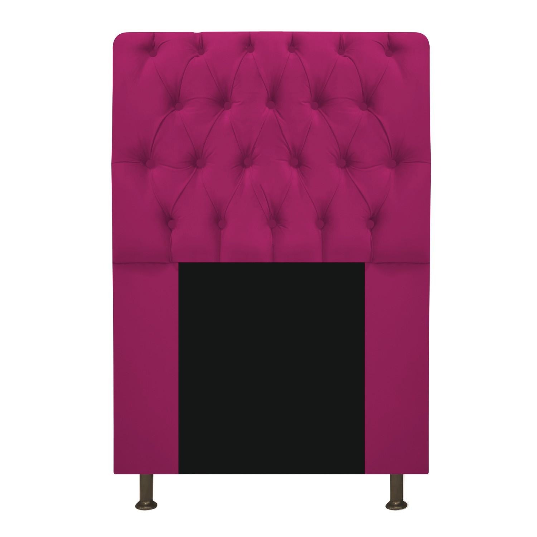 Cabeceira Estofada Lady 90 cm Solteiro Com Capitonê  Suede Pink - ADJ Decor