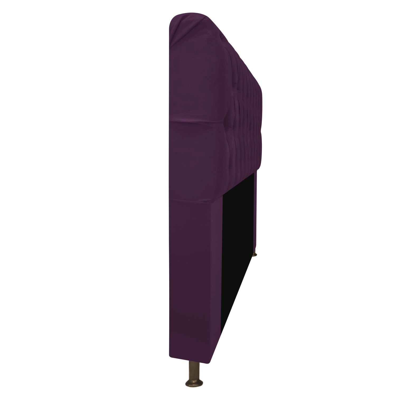 Cabeceira Estofada Lady 90 cm Solteiro Com Capitonê  Suede Roxo - ADJ Decor