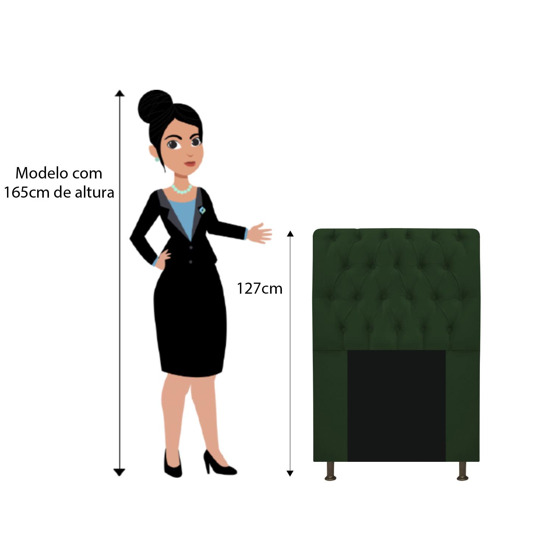 Cabeceira Estofada Lady 90 cm Solteiro Com Capitonê  Suede Verde - ADJ Decor