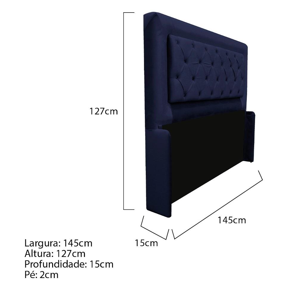 Cabeceira Estofada Laguna 140 cm Casal Com Capitonê Corano Azul Marinho - ADJ Decor