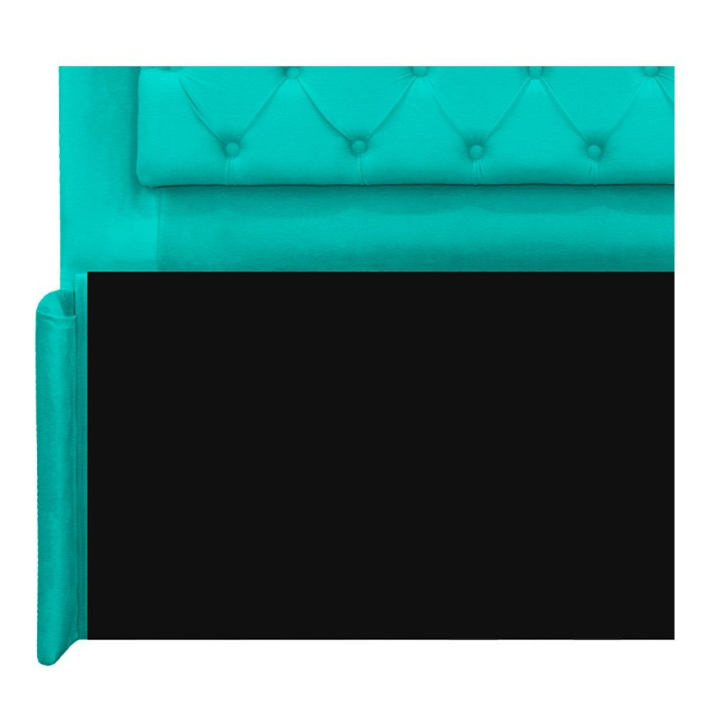 Cabeceira Estofada Laguna 140 cm Casal Com Capitonê Corano Azul Turquesa - ADJ Decor