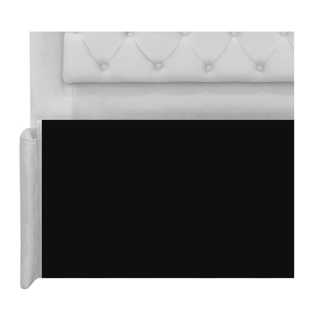Cabeceira Estofada Laguna 140 cm Casal Com Capitonê Corano Branco - ADJ Decor