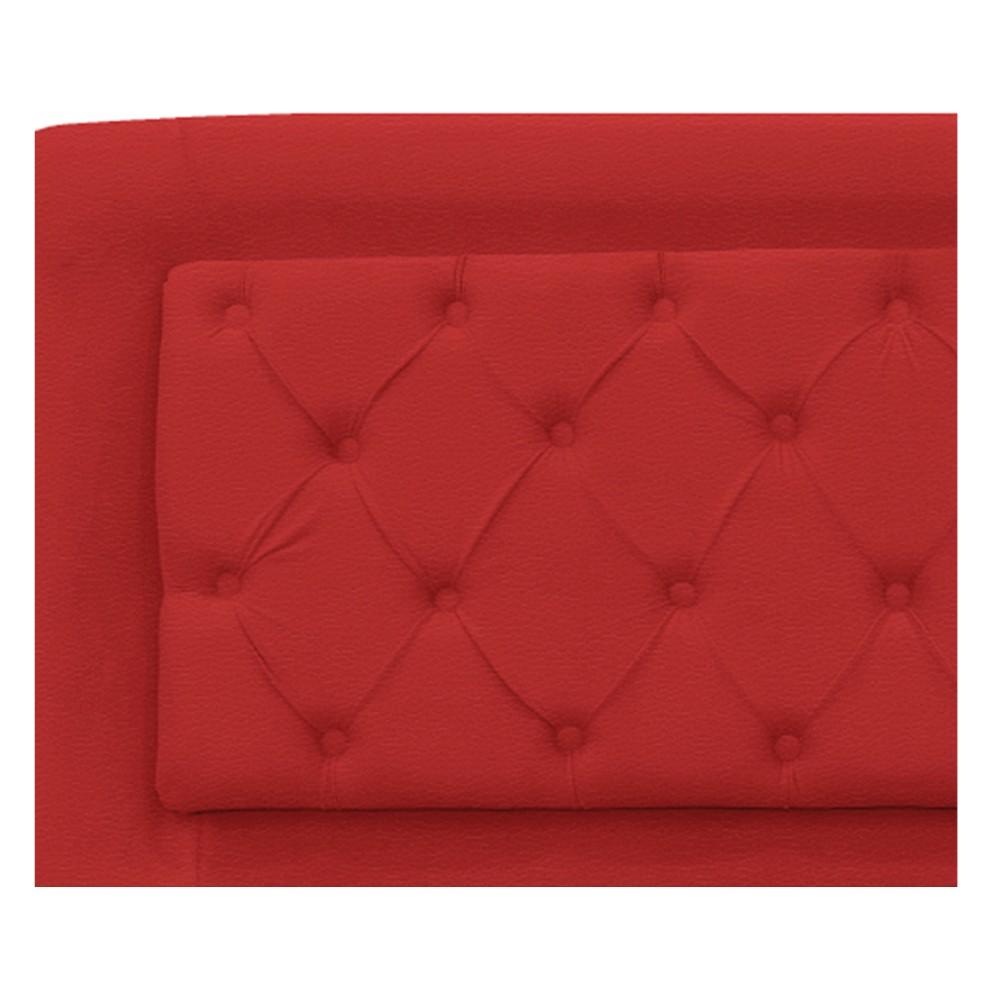 Cabeceira Estofada Laguna 140 cm Casal Com Capitonê Corano Vermelho - ADJ Decor