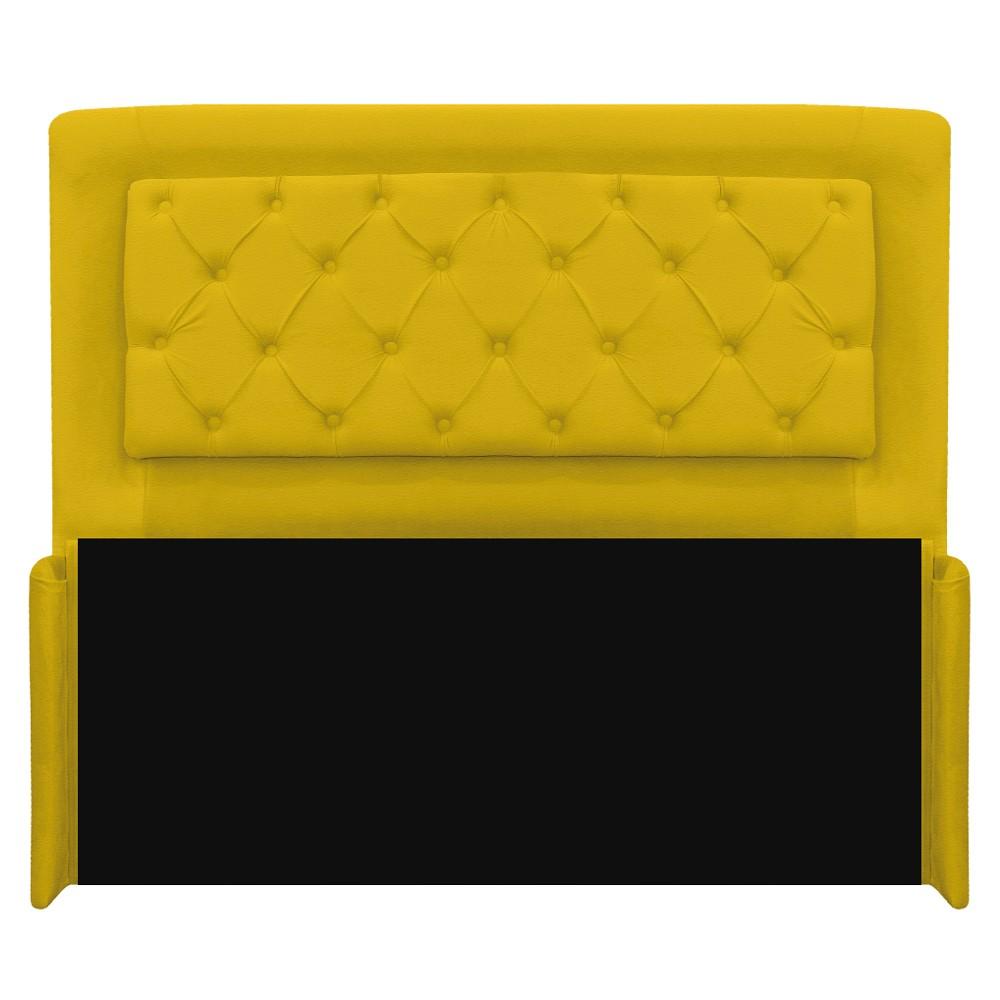 Cabeceira Estofada Laguna 160 cm Queen Size Com Capitonê Corano Amarelo - ADJ Decor