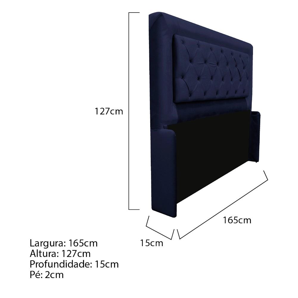 Cabeceira Estofada Laguna 160 cm Queen Size Com Capitonê Corano Azul Marinho - ADJ Decor