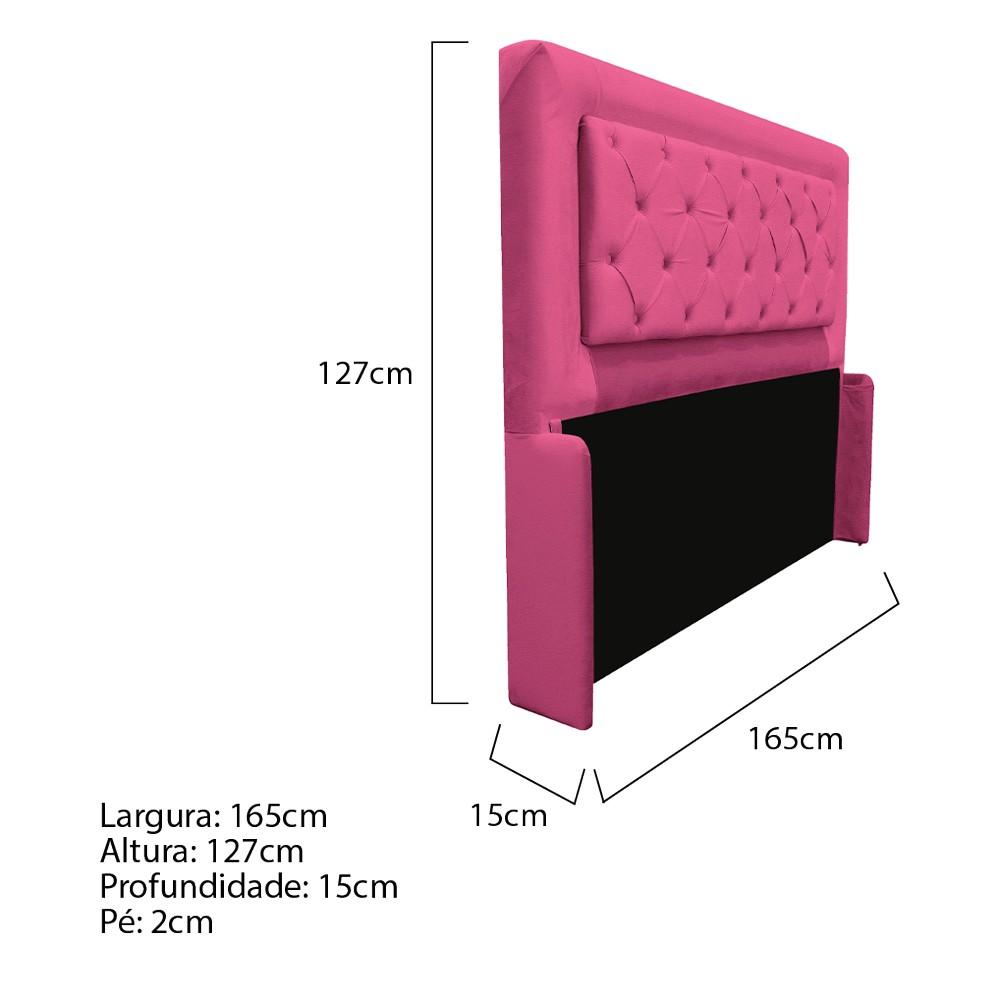Cabeceira Estofada Laguna 160 cm Queen Size Com Capitonê Corano Pink - ADJ Decor