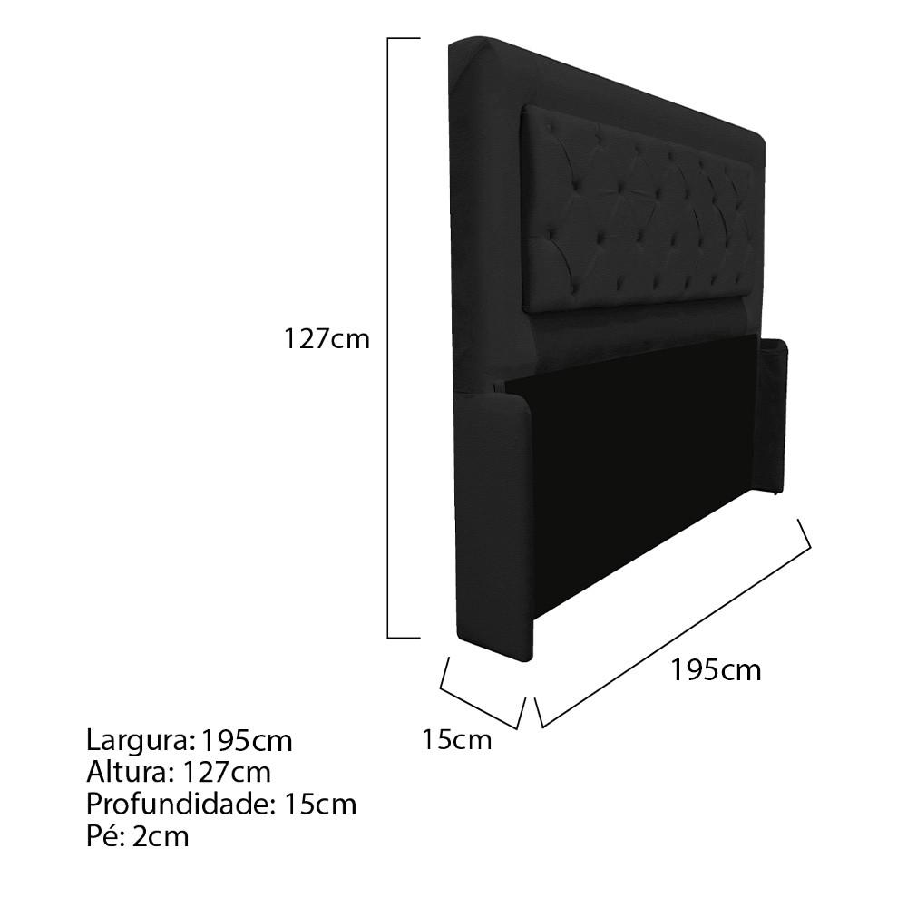 Cabeceira Estofada Laguna 190 cm King Size Com Capitonê Corano Preto- ADJ Decor