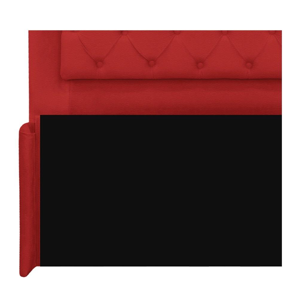 Cabeceira Estofada Laguna 190 cm King Size Com Capitonê Corano Vermelho - ADJ Decor