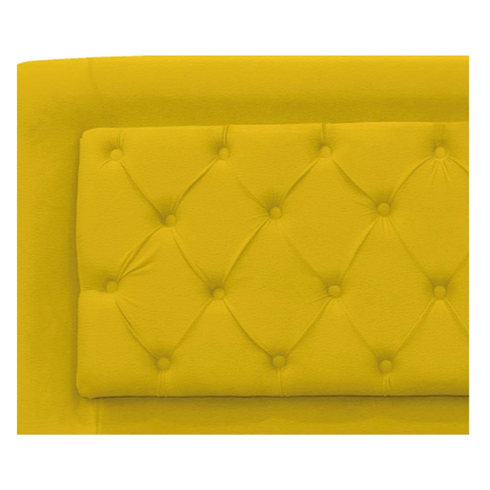 Cabeceira Estofada Laguna 90 cm Solteiro Com Capitonê Corano Amarelo - ADJ Decor
