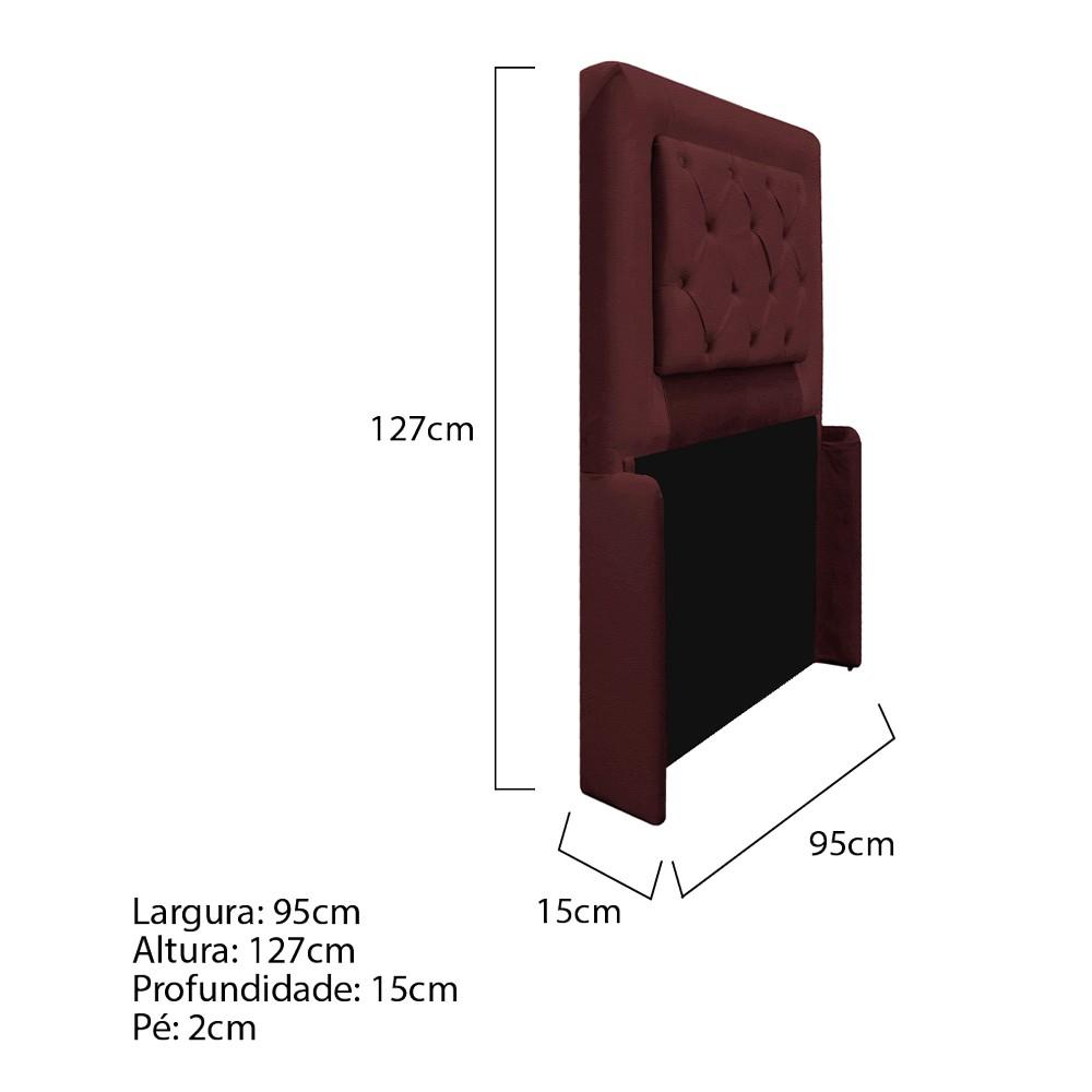 Cabeceira Estofada Laguna 90 cm Solteiro Com Capitonê Corano Bordô - ADJ Decor