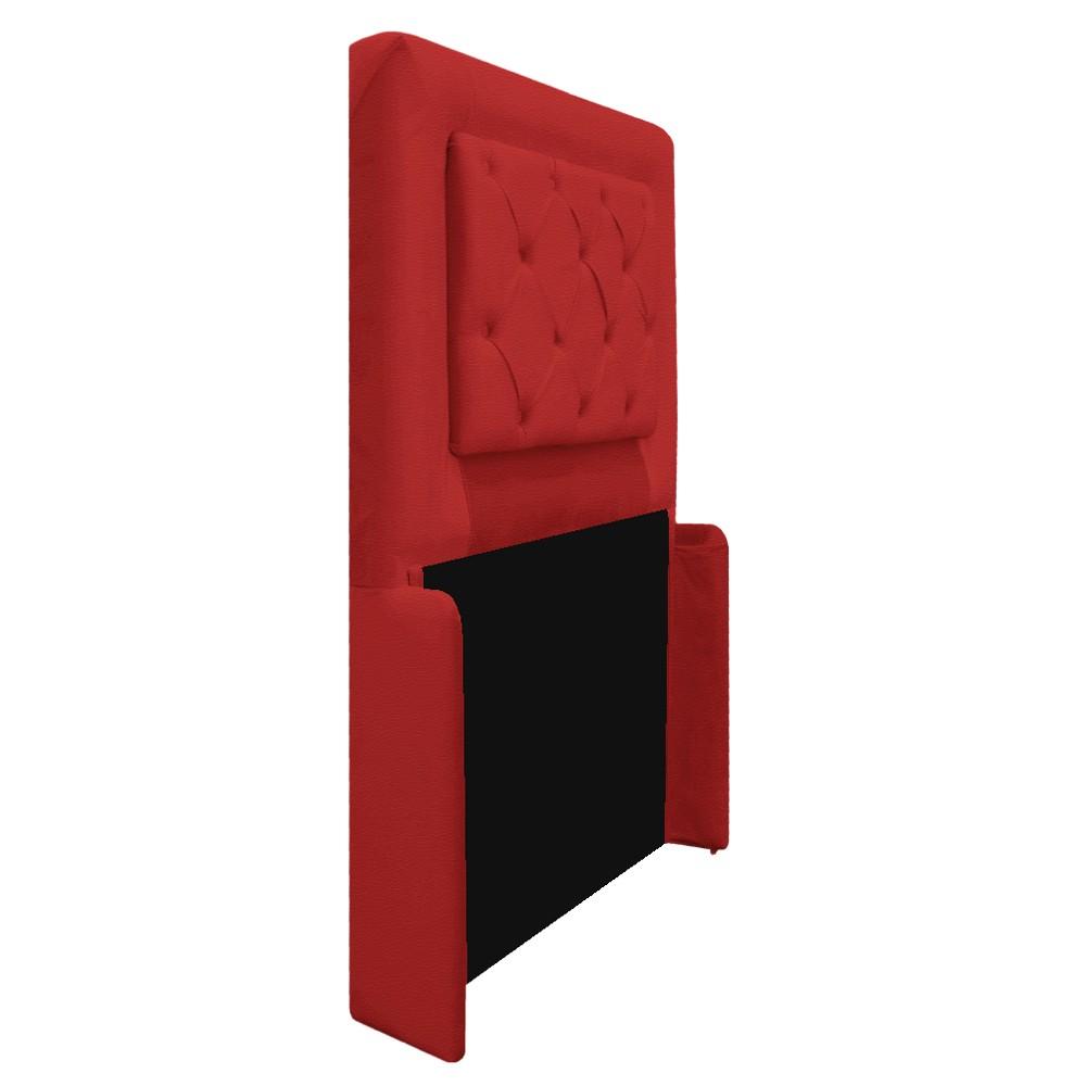 Cabeceira Estofada Laguna 90 cm Solteiro Com Capitonê Corano Vermelho - ADJ Decor
