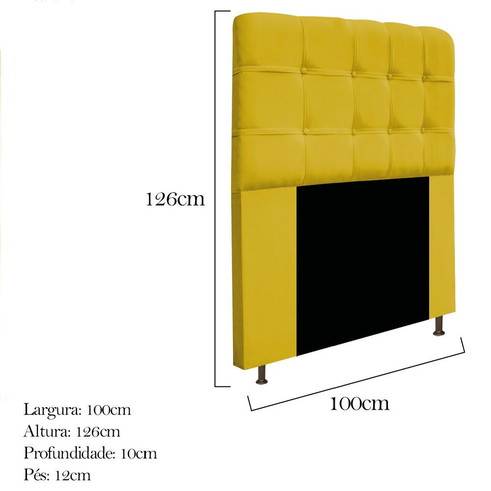 Cabeceira Estofada Mel 100 cm Solteiro Com Botonê Suede Amarelo - ADJ Decor