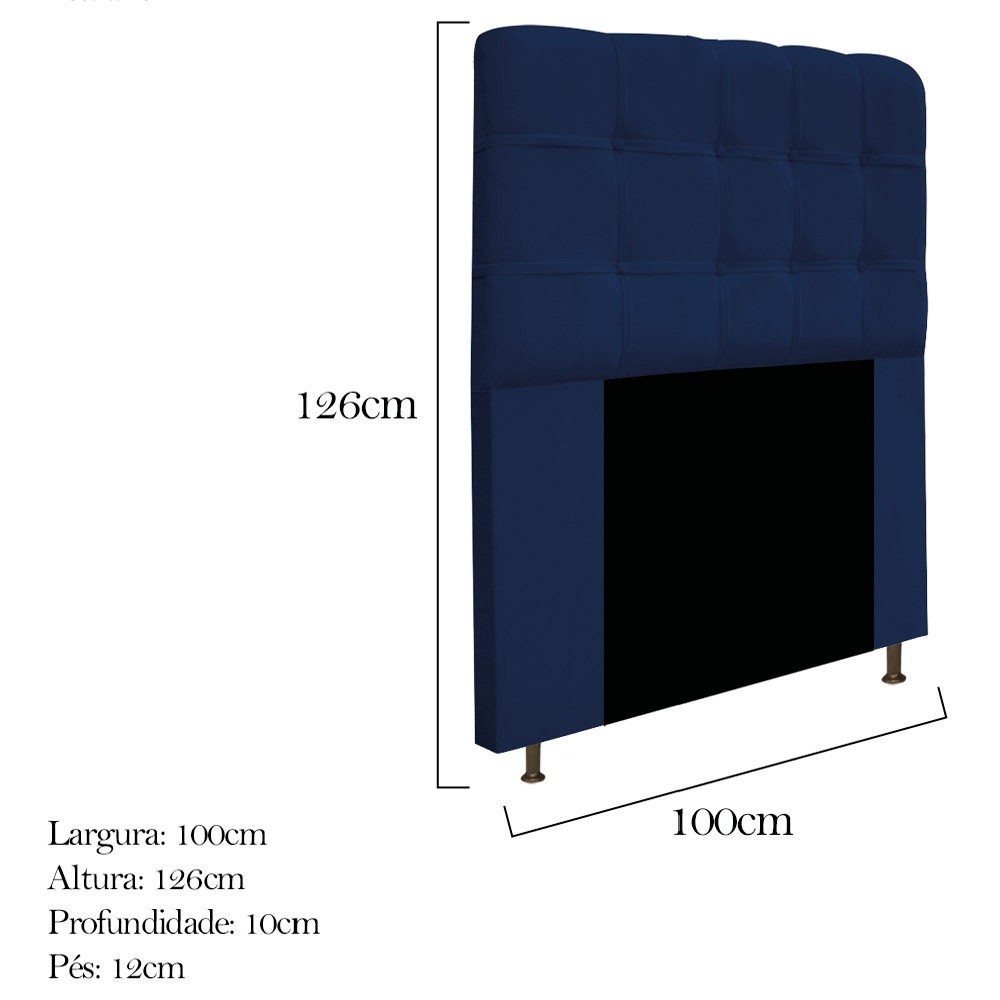 Cabeceira Estofada Mel 100 cm Solteiro Com Botonê Suede Azul Marinho - ADJ Decor