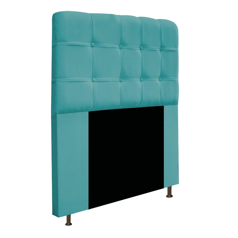 Cabeceira Estofada Mel 100 cm Solteiro Com Botonê Suede Azul Turquesa - ADJ Decor