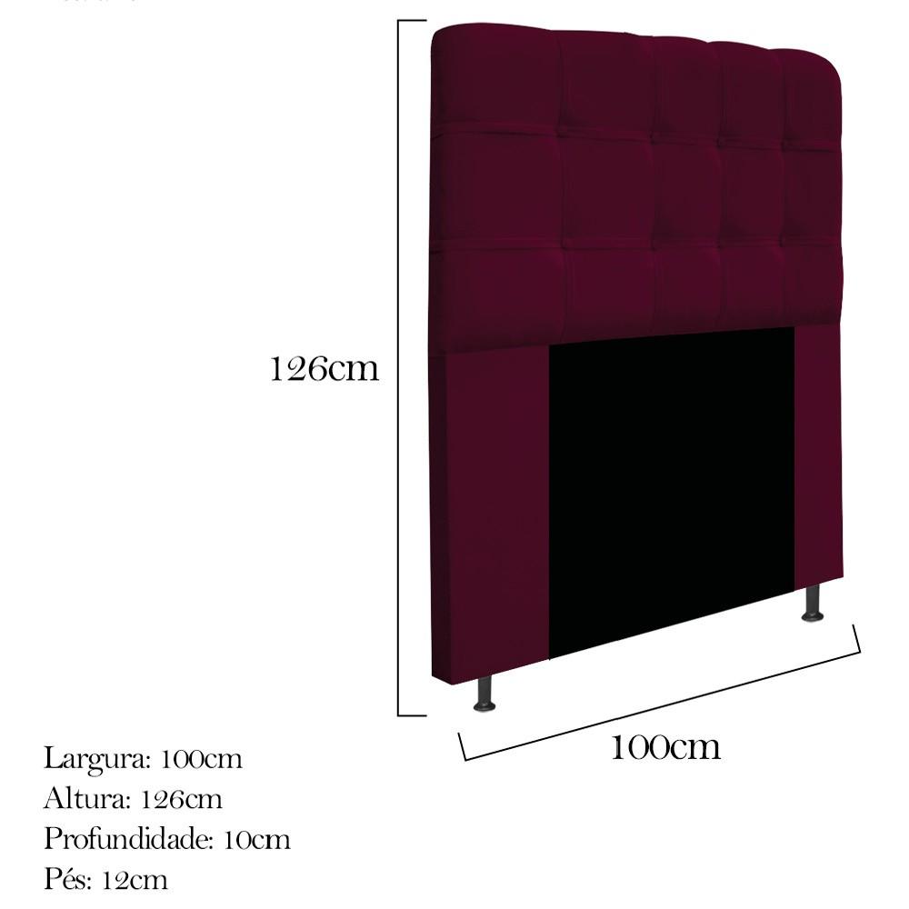 Cabeceira Estofada Mel 100 cm Solteiro Com Botonê Suede Bordô - ADJ Decor