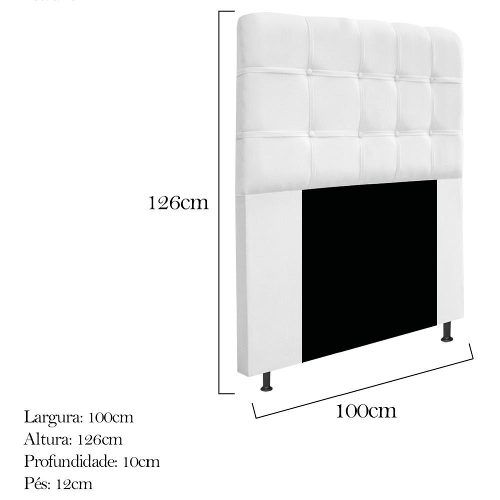 Cabeceira Estofada Mel 100 cm Solteiro Com Botonê Suede Branco - ADJ Decor